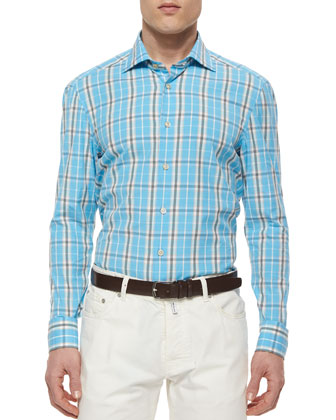Large Plaid Woven Shirt, Aqua