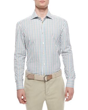 Check Long-Sleeve Woven Shirt, Teal/Brown