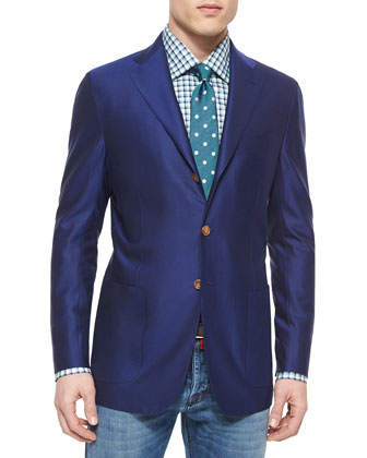 Twill Three-Button Blazer, Royal