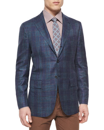 Cashmere-Blend Plaid Sport Coat, Blue