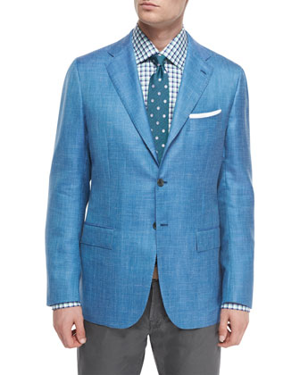 Cashmere-Blend Two-Button Blazer & Washed Twill Five-Pocket Pants