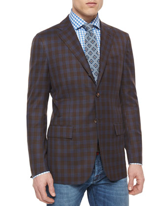 Twill Plaid Blazer, Brown/Blue