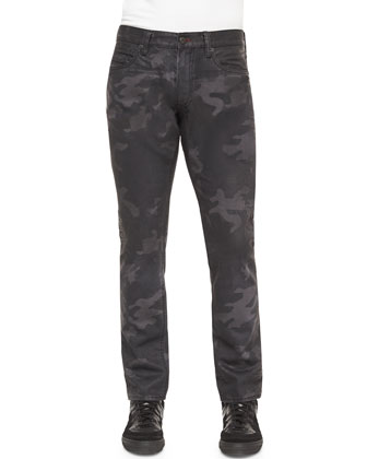 Camo-Print Slim Fit Jeans, Black