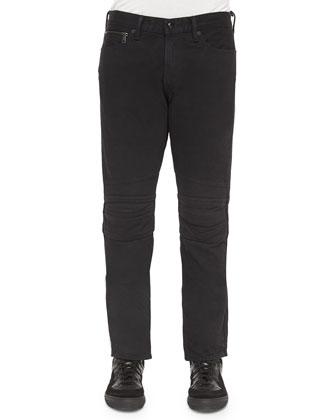 Piston Moto Denim Jeans, Black