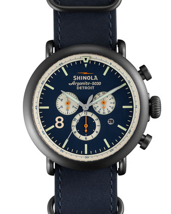 47mm Runwell Chronograph Nylon Watch, Navy