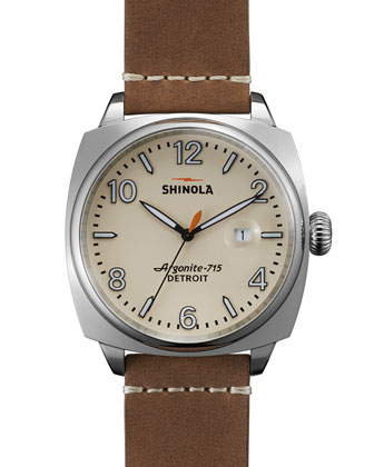 46mm Brakeman Watch, Brown/Cream