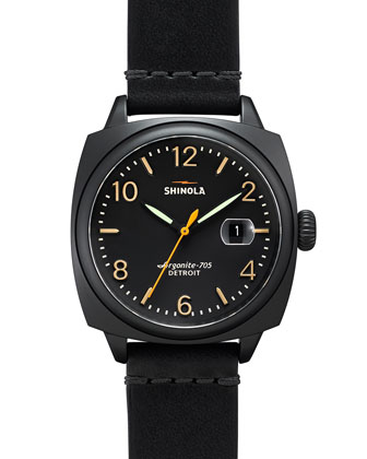 40mm Brakeman Leather Strap Watch, Black/Black