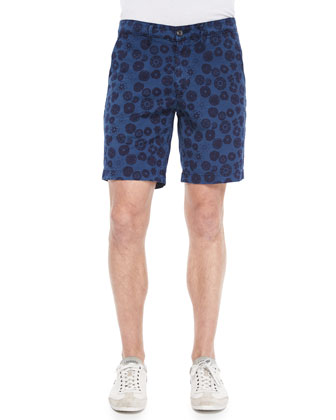 Wanderer Inkwell-Print Cotton Shorts, Navy