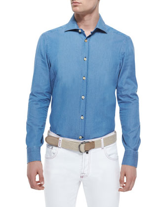 Chambray Long-Sleeve Woven Shirt, Light Blue