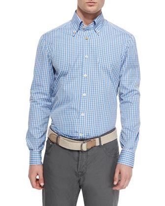 Check Long-Sleeve Woven Shirt & Washed Twill Five-Pocket Pants