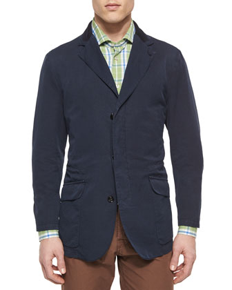 Cotton Three-Button Jacket with Suede Trim & Large Plaid Woven Shirt