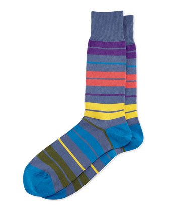Batt Striped Socks, Light Blue