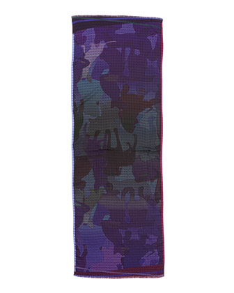 Dog Camo Check Men's Scarf, Purple