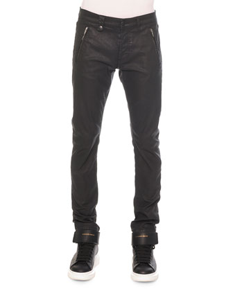Woven Zip-Pocket Coated Jeans, Black