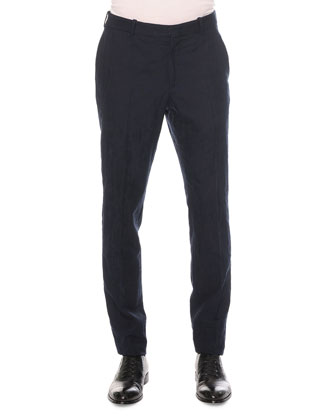 Worn Away Cotton/Wool Trousers, Navy
