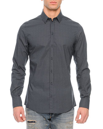 Small Dots Long-Sleeve Sport Shirt, Navy