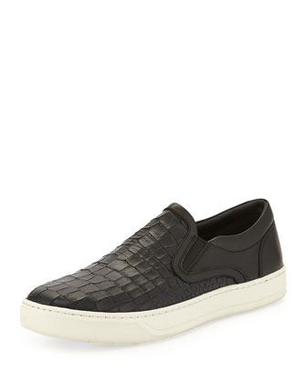 Ace Men's Stamped-Leather Slip-On Sneaker, Black