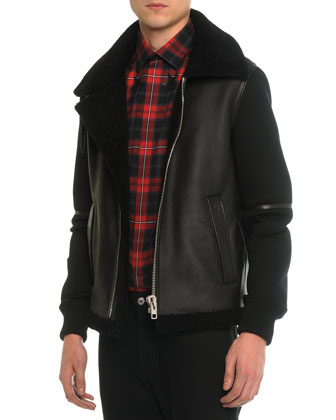 Shearling Fur & Neoprene Zip-Up Jacket, Plaid Woven Shirt with Star-Detail ...