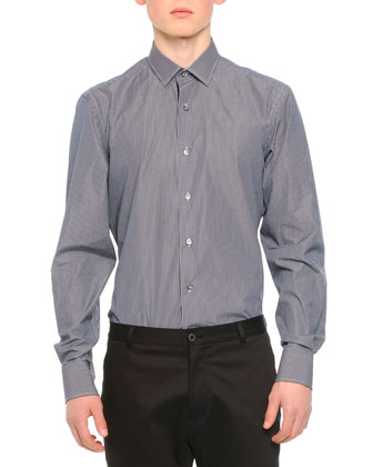 Striped Long-Sleeve Dress Shirt, Navy