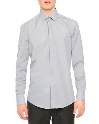 Stripe & Check-Patterned Cotton Shirt, Light Blue