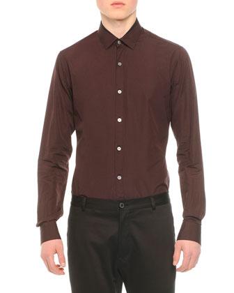 Long-Sleeve Woven Sport Shirt & Stretch-Knit Cotton Biker Pants