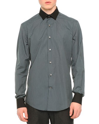 Micro-Check Poplin Shirt, Black Pattern