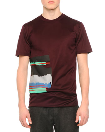 Digital Stripe Graphic T-Shirt, Wine