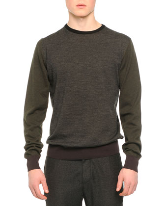 Crewneck Colorblock Sweater, Dark Gray
