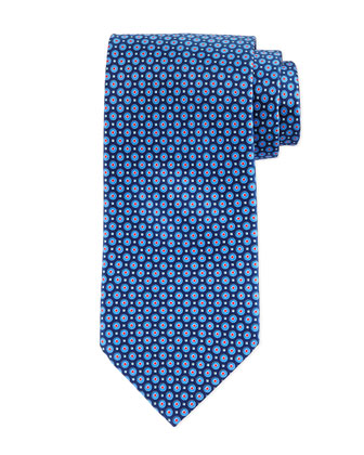 Circle-Diamond Neat Silk Tie, Navy