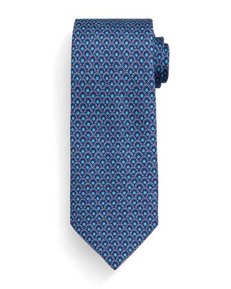 Fan-Print Silk Tie, Navy