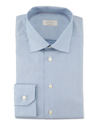 Contemporary-Fit Micro-Dot Print Dress Shirt, Light Blue