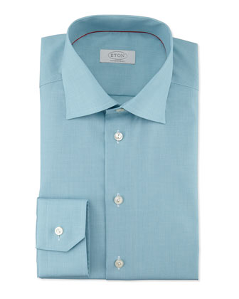 Contemporary-Fit Micro-Check Dress Shirt, Aqua