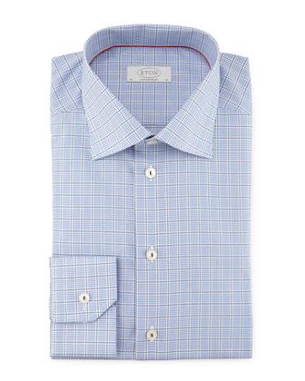 Contemporary Windowpane-Check Woven Dress Shirt, Blue