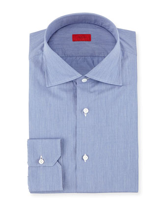 Solid Chambray Woven Dress Shirt, Dark Blue