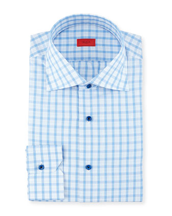 Woven Box Windowpane Dress Shirt, Blue