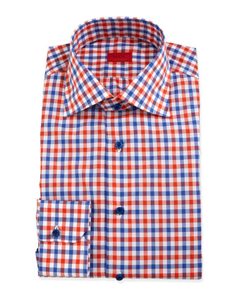 Gingham Check Dress Shirt, Orange/Blue