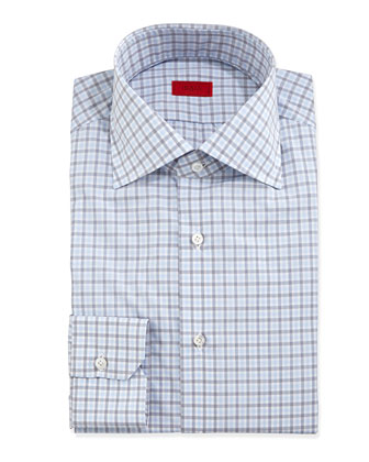 Check-Woven Dress Shirt, Soft Blue/Gray