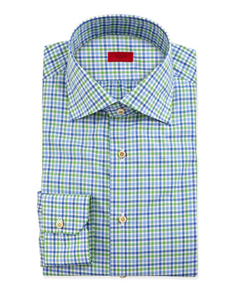 Multi-Check Dress Shirt, Green/Blue