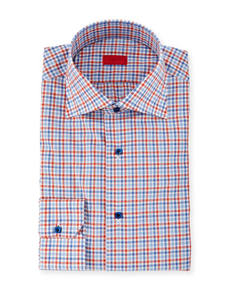 Multi-Check Dress Shirt, Blue/Orange