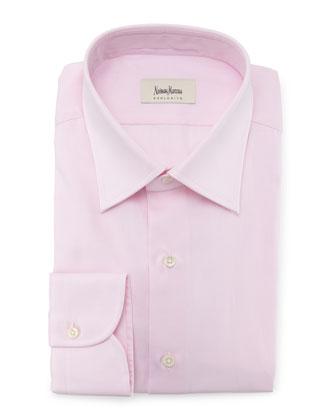 Diamond-Weave Solid Dress Shirt, Pink