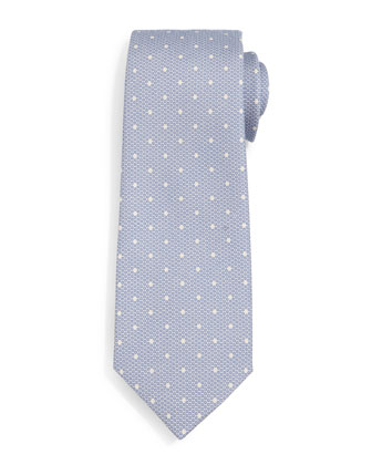 Faded-Dot Pattern Silk Tie, Light Blue