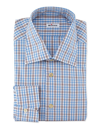 Plaid Woven Dress Shirt, Blue/Brown