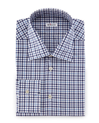 Plaid Woven Dress Shirt, Blue/White