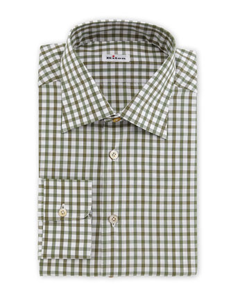 Box-Check Woven Dress Shirt, Olive/White