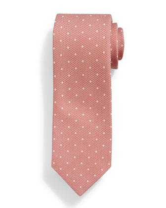 Faded Dot-Pattern Silk Tie, Red