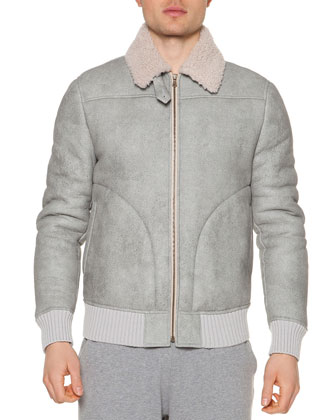 Shearling Fur Zip-Up Coat, Light Gray