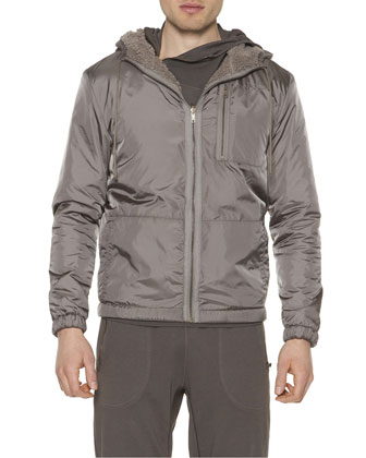 Nylon Zip-Up Hoodie Jacket, Dust