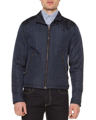 Fleece-Lined Zip-Up Jacket, Navy