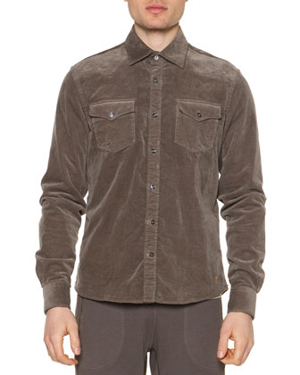 Cord Button-Down Shirt Jacket, Dust Brown