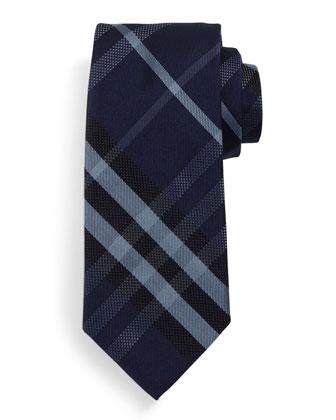 Manston Check Textured Silk Tie, Navy